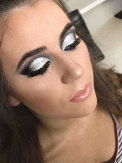 Black & white cut-crease makeup